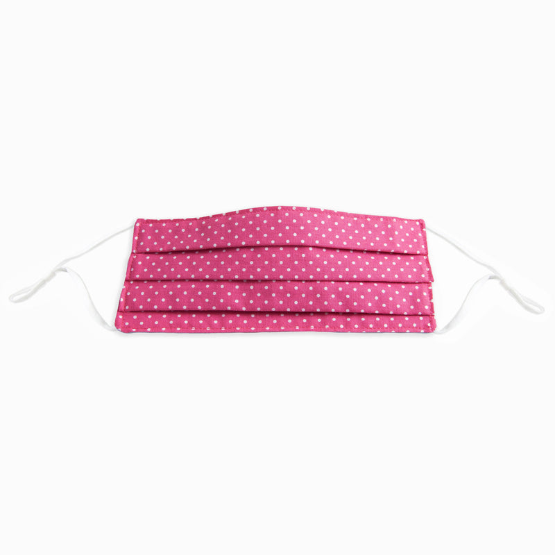 Corda Face mask with adjustable ear loops and metal noseband in Bright Pink with White Polka Dots Print by Riley Blake