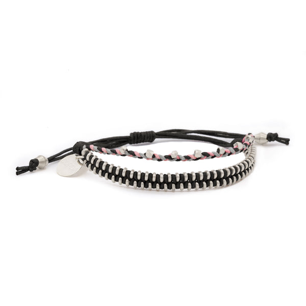 Juno Luxe Friendship Bracelet • Black • Silver