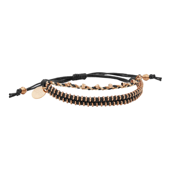 Juno Luxe Friendship Bracelet • Black • Rose Gold