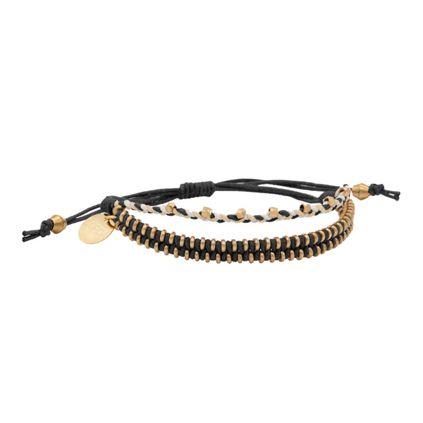 Juno Luxe Friendship Bracelet • Black • Brass
