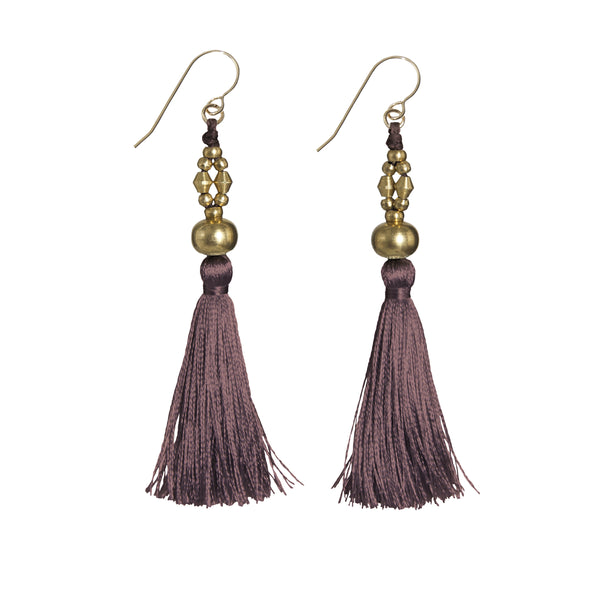 Bhaskari Silk Tassel Earrings • Cacao