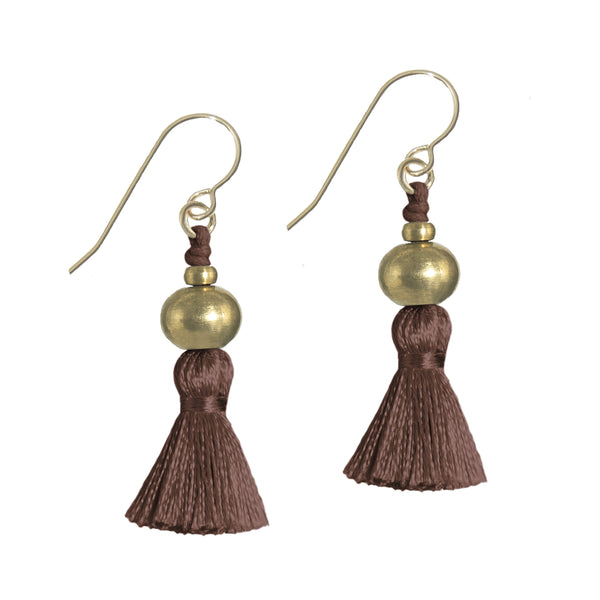 Deeta Mini Silk Tassel Earrings • Cacao
