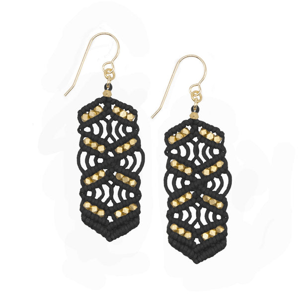 Black and Brass Caireen Macrame Statement Earrings