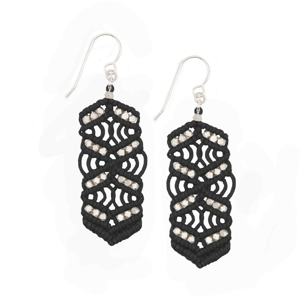 Black and Rose Gold Caireen Macrame Statement Earrings