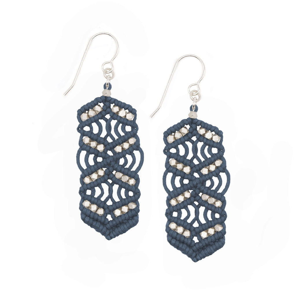 Denim and Silver Caireen Macrame Statement Earrings