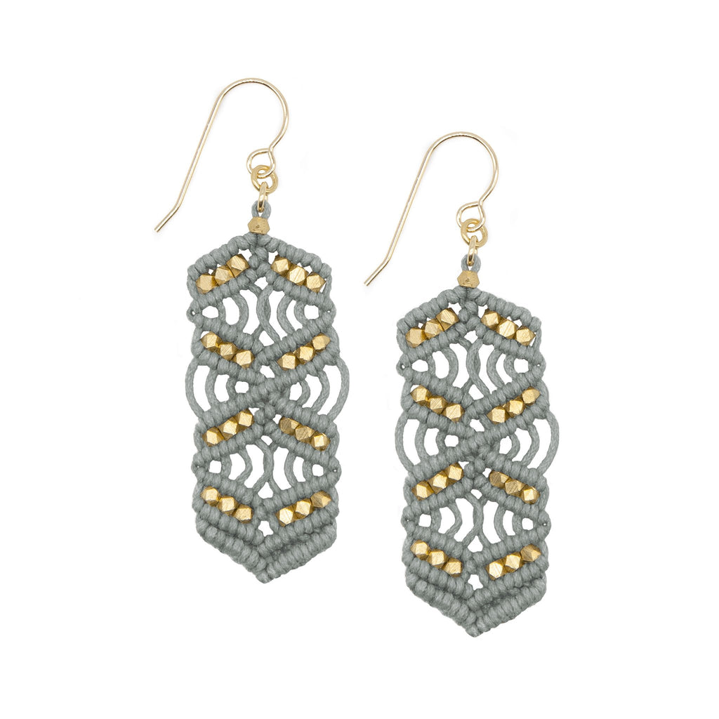Grey and Brass Caireen Macrame Statement Earrings