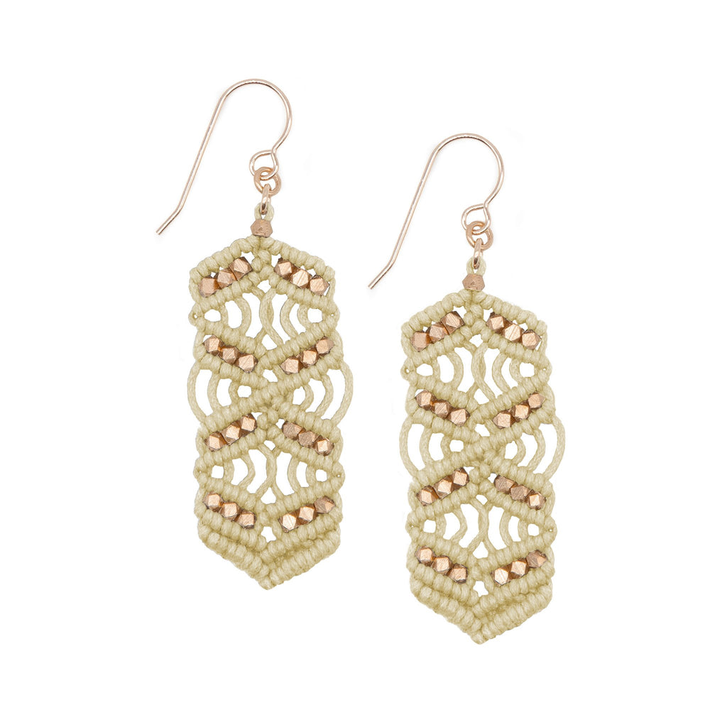 Natural and Rose Gold Caireen Macrame Statement Earrings
