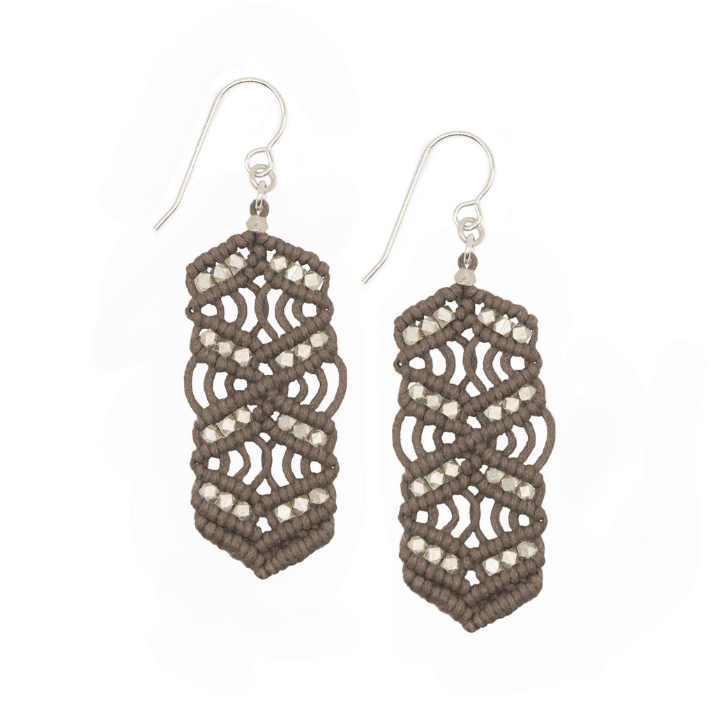 Stone and Silver Caireen Macrame Statement Earrings
