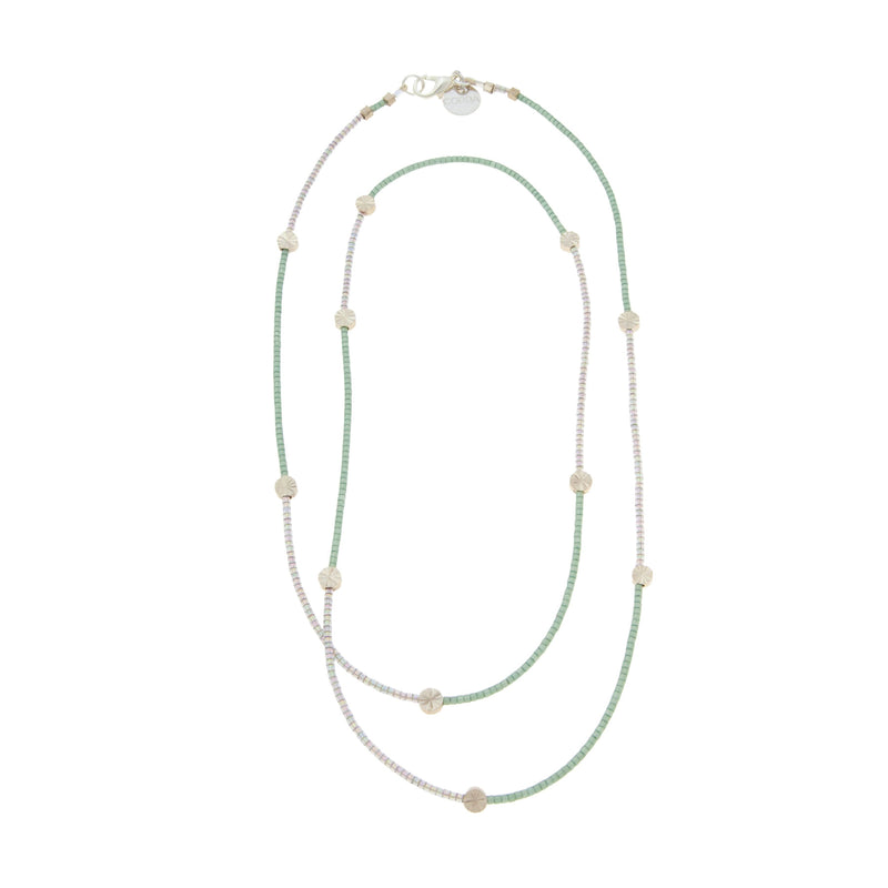 Chloe 2-toned Beaded Necklace with Silver