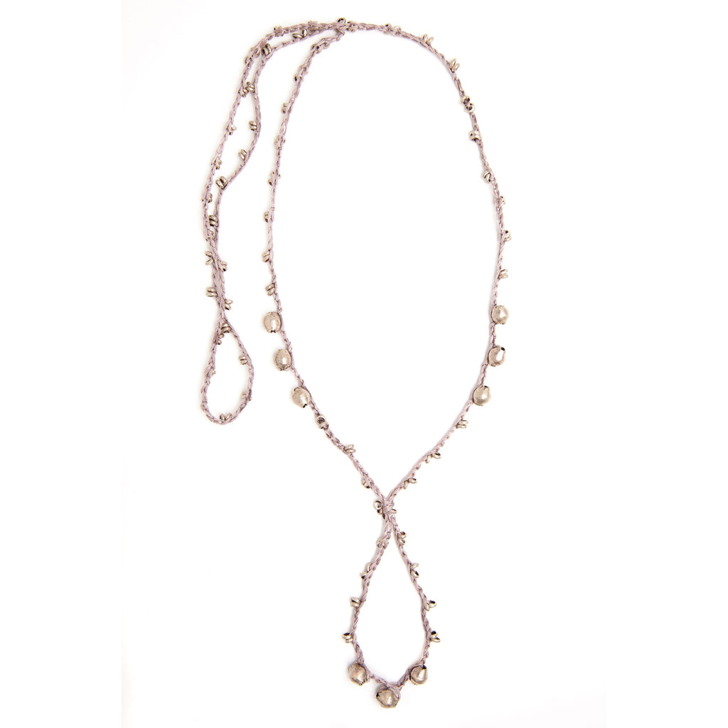 Champagne and Silver EPONA Necklace by CORDA. 100% Silk Crochet with Ethiopian Silver beads, designed by Kelli Ronci