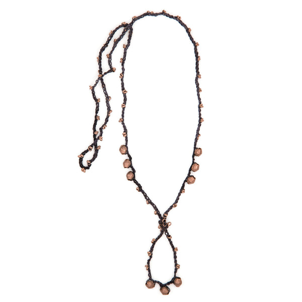 Charcoal Black and Copper EPONA Necklace by CORDA. 100% Silk Crochet with Ethiopian Nickel Silver beads, designed by Kelli Ronci