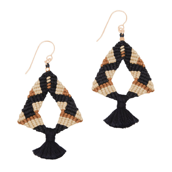 Corda Iris Tassel Earrings in Black, Bisque & Sienna