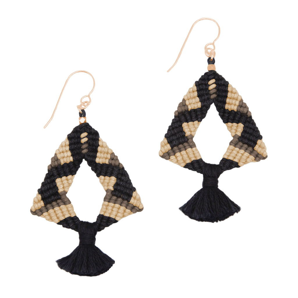 Knotted Tassel Earrings by CORDA in Black, Bisque & Stone