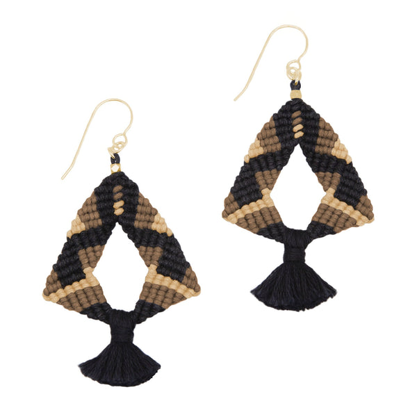 Corda Iris Tassel Earrings in Black, Coffee & Bisque