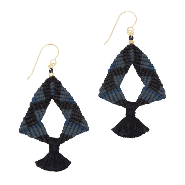 Corda Iris Tassel Earrings in Black, Denim & Navy