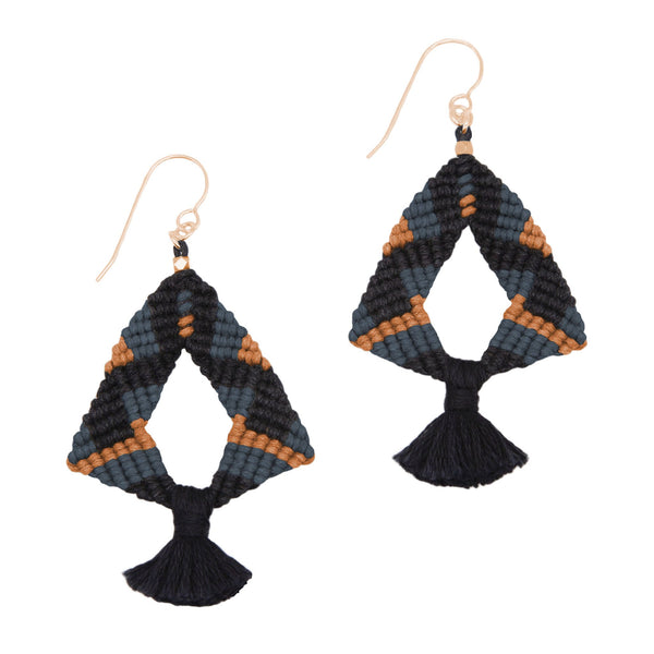 Corda Iris Tassel Earrings in Black, Denim & Sienna