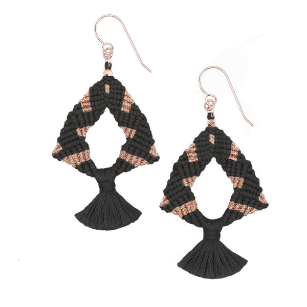 Corda Iris Metallic Tassel Earrings in Black & Rose Gold