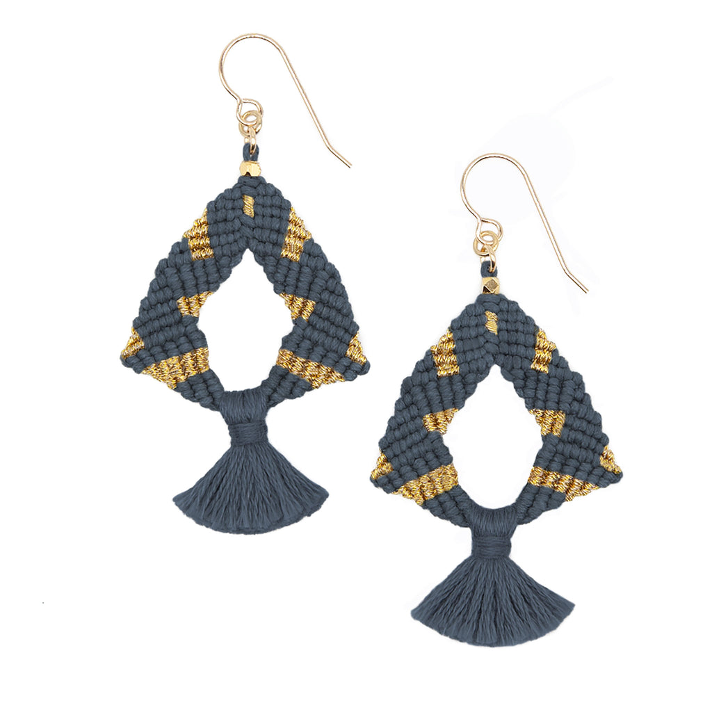 Corda Iris Metallic Tassel Earrings in Denim & Gold