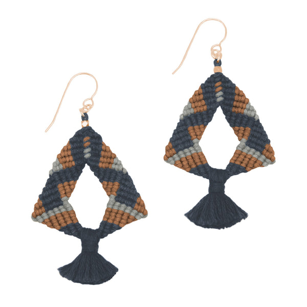 Corda Iris Tassel Earrings in Denim, Sienna & Zinc