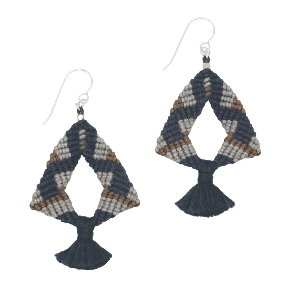 Corda Iris Tassel Earrings in Denim, Zinc & Stone