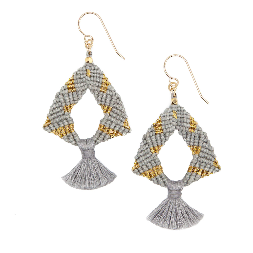 Grey and Gold Tassel Earrings by CORDA