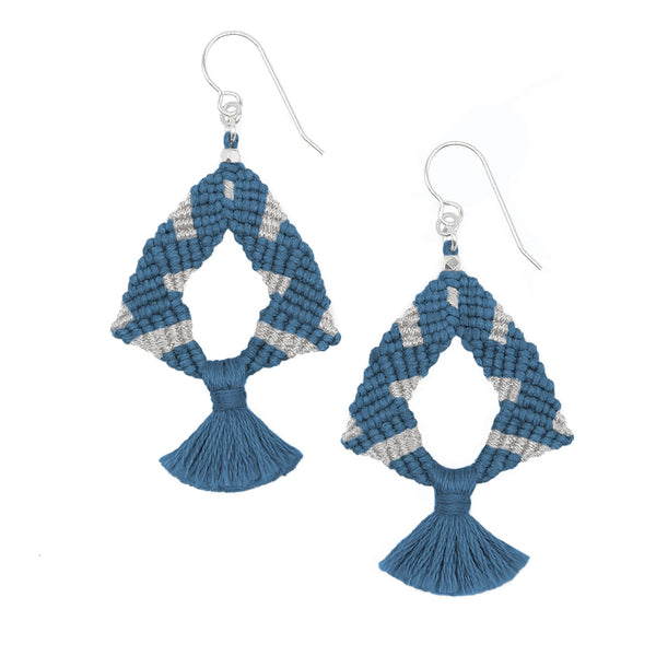 Corda Iris Metallic Tassel Earrings in Indigo & Silver