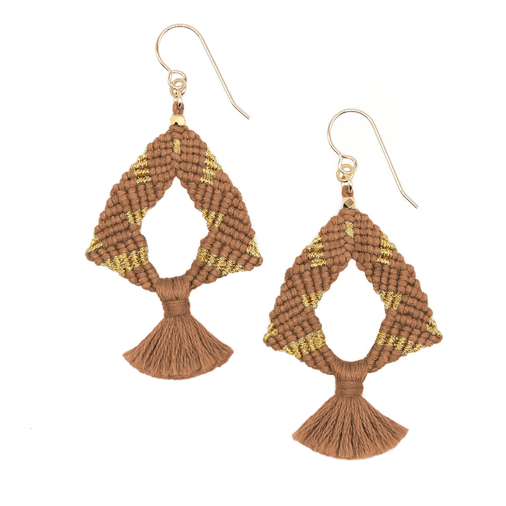 Corda Iris Metallic Tassel Earrings in Sienna & Gold