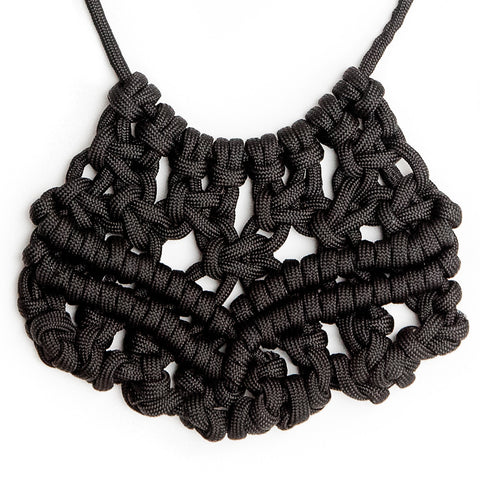 Black Macramé Para Corda Bib Statement Necklace closeup