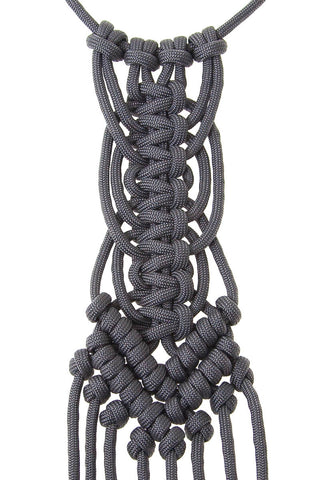 Paracorda Circular Square Knot Macrame Necklace • Gray
