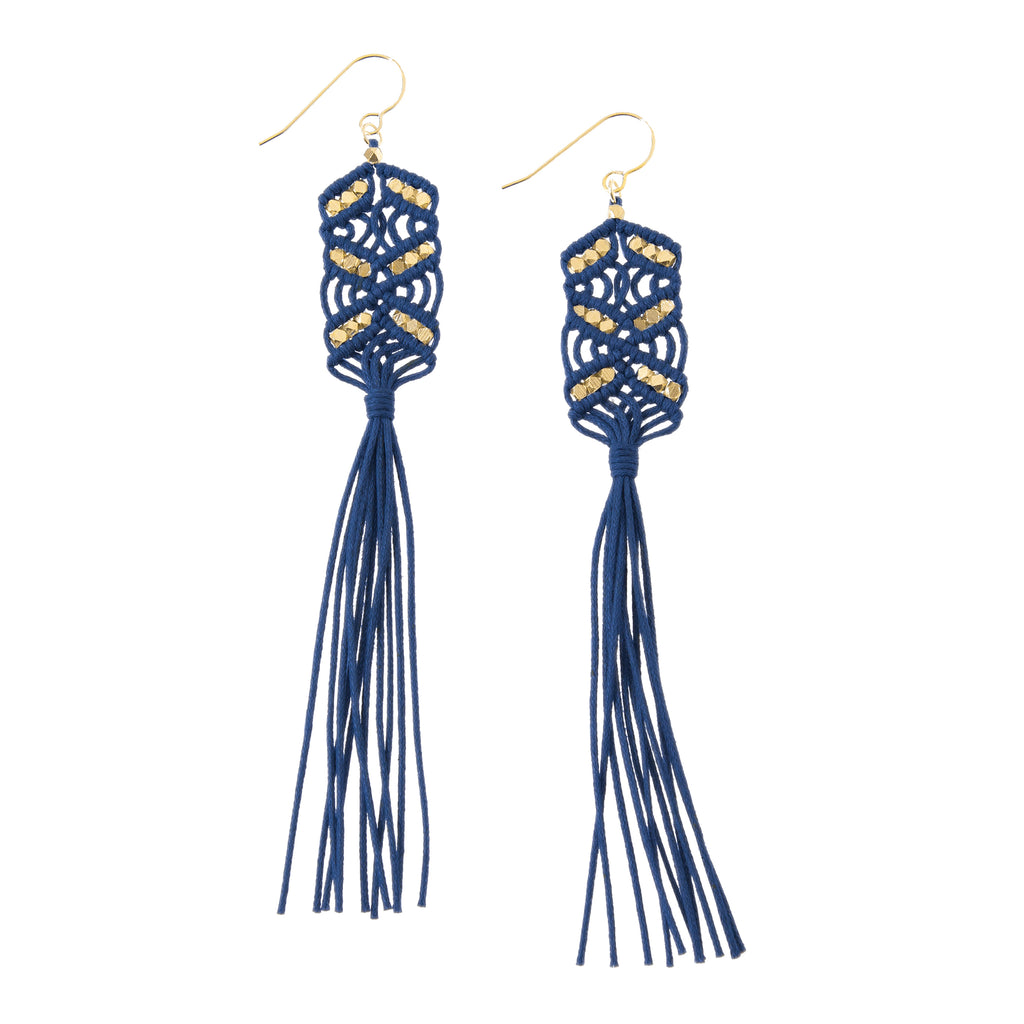 Maeve Tassel Earrings • Navy