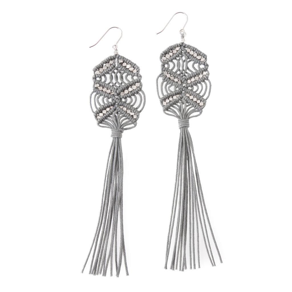 Rhiannon Tassel Earrings • Grey
