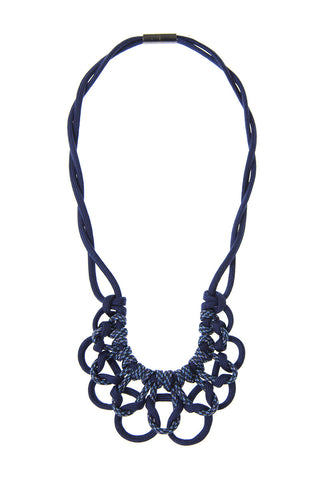 ParaCorda Fancy Scallops Macrame Choker Necklace - Navy/Plaid