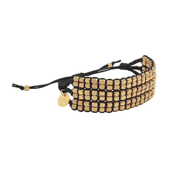 Tressa Statement Bracelet in Black with Brass Beads