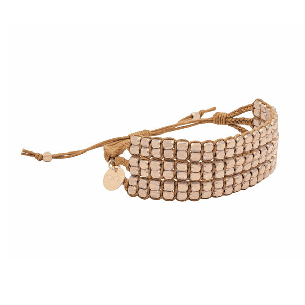 Tressa Statement Bracelet in Sienna with Brass Beads worn on wrist