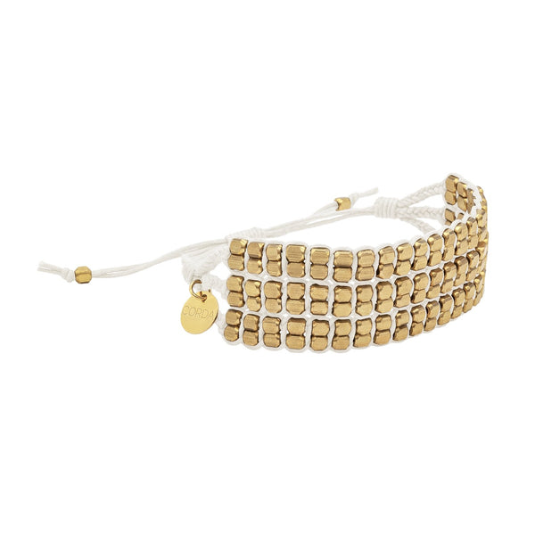 Tressa Statement Bracelet in White with Rose Gold Beads