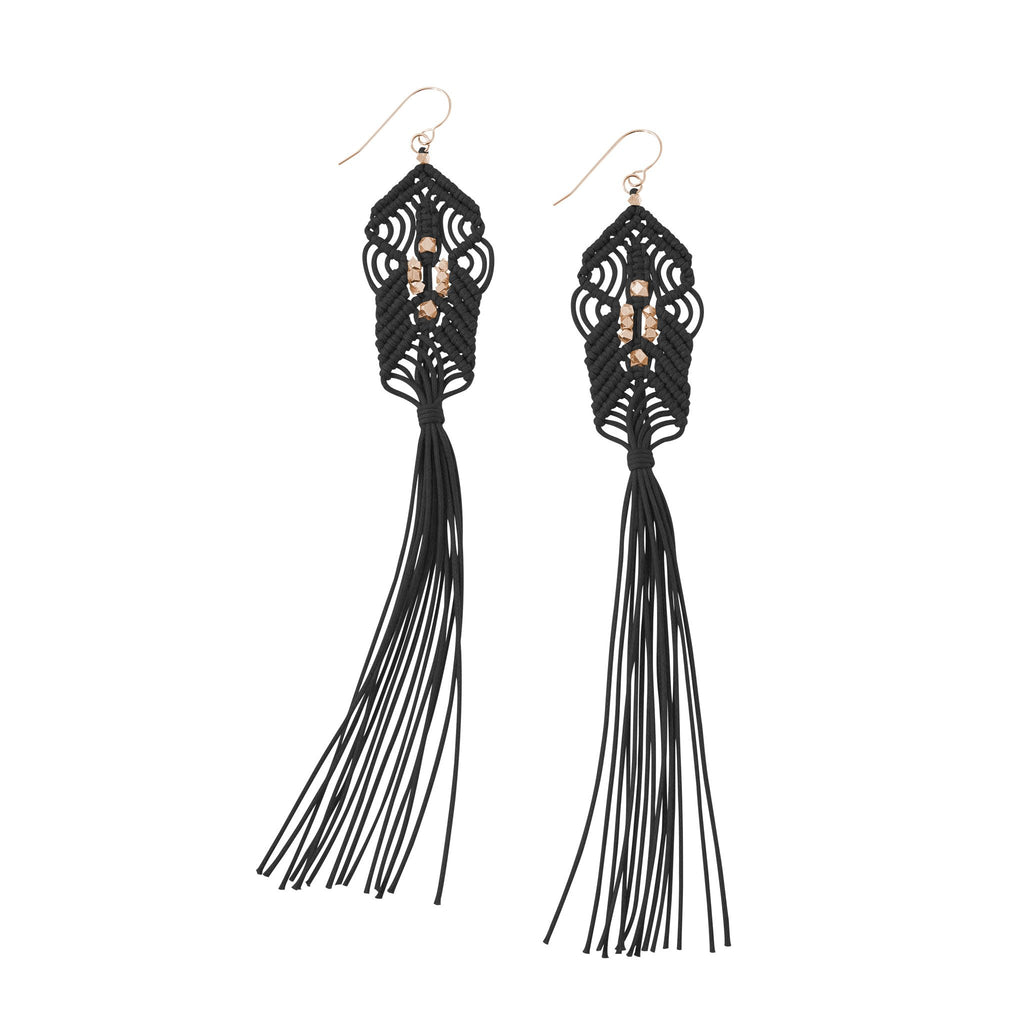 CORDA Danu Macrame Tassel Earrings in Black and Rose Gold