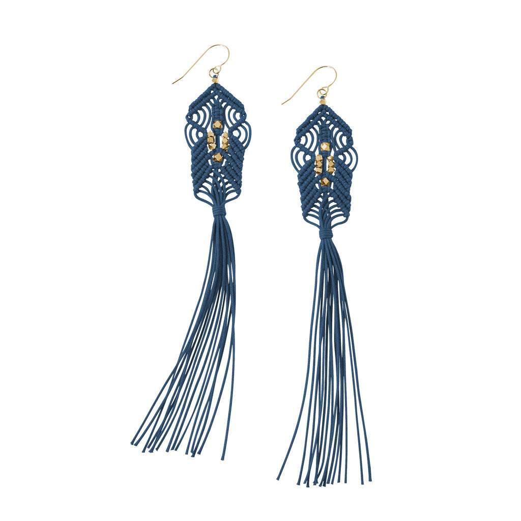 CORDA Danu Macrame Tassel Earrings in Indigo and Brass