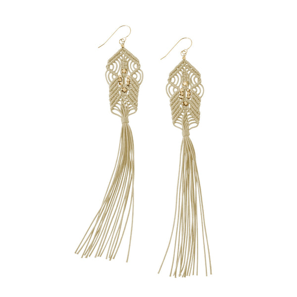 CORDA Danu Macrame Tassel Earrings in Natural and Brass