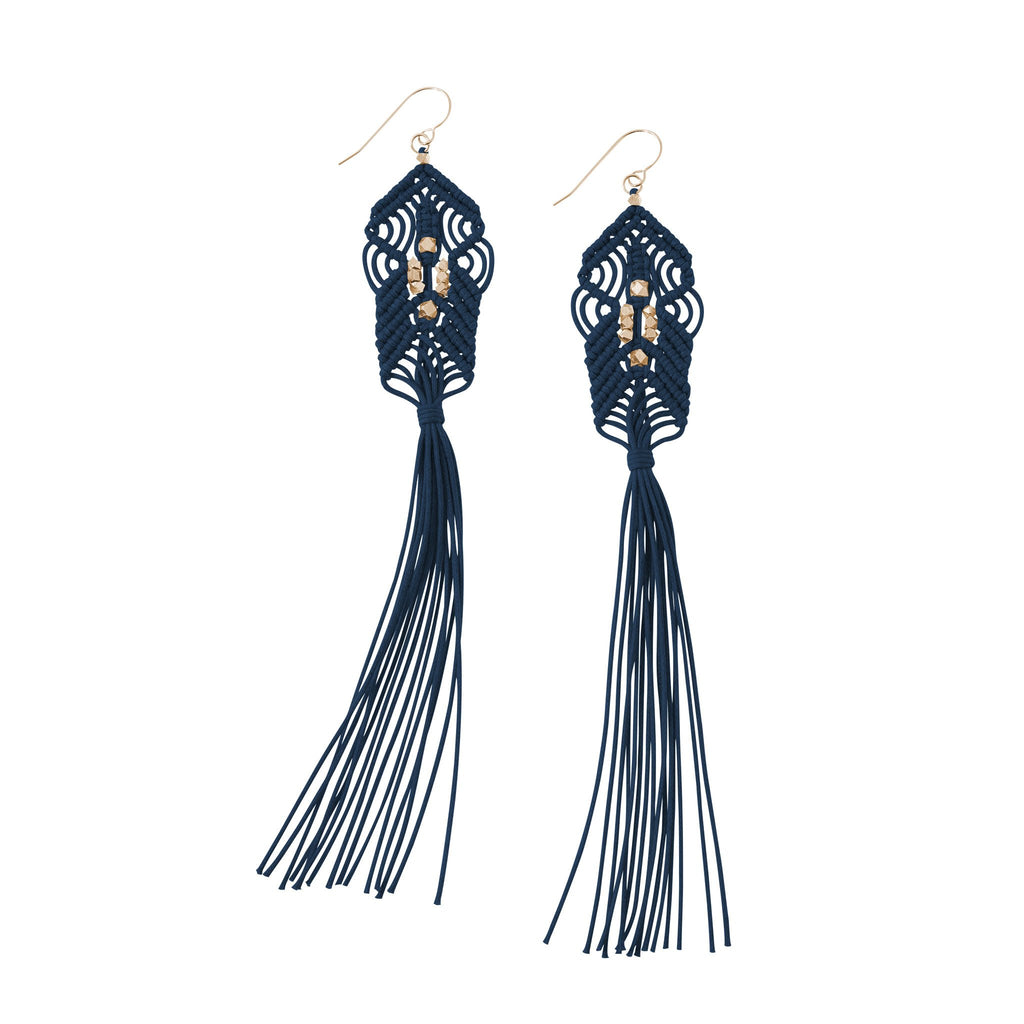 CORDA Danu Macrame Tassel Earrings in Navy and Rose Gold
