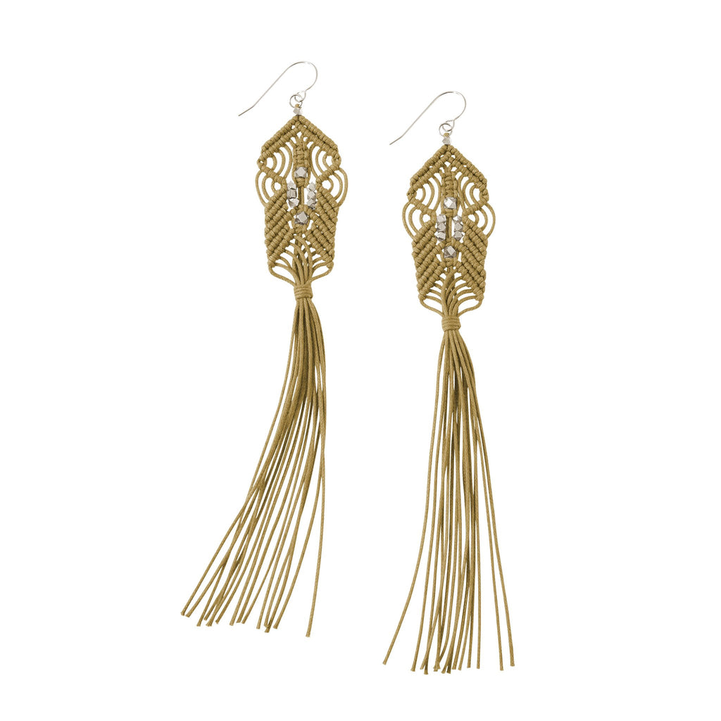 CORDA Danu Macrame Tassel Earrings in Ochre and Silver
