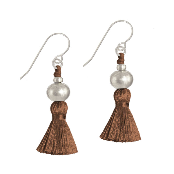 Deeta Mini Silk Tassel Earrings • Auburn