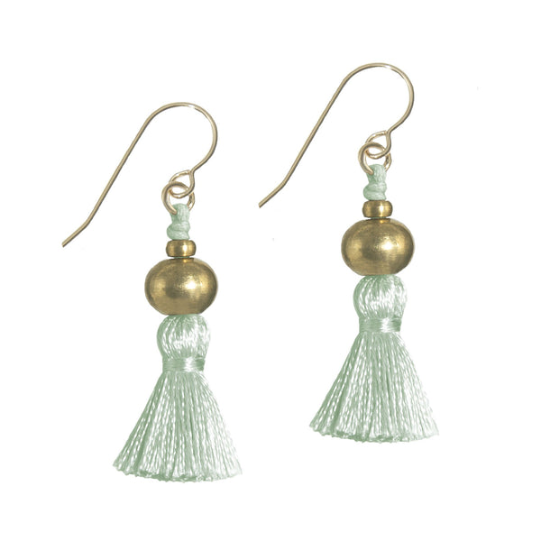 Deeta Mini Silk Tassel Earrings • Moss