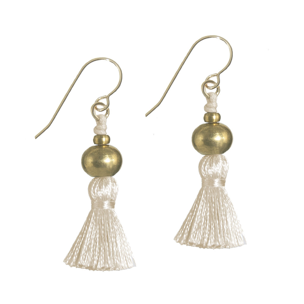 Deeta Mini Silk Tassel Earrings • Natural