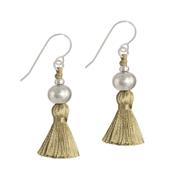 Deeta Mini Silk Tassel Earrings • Ochre