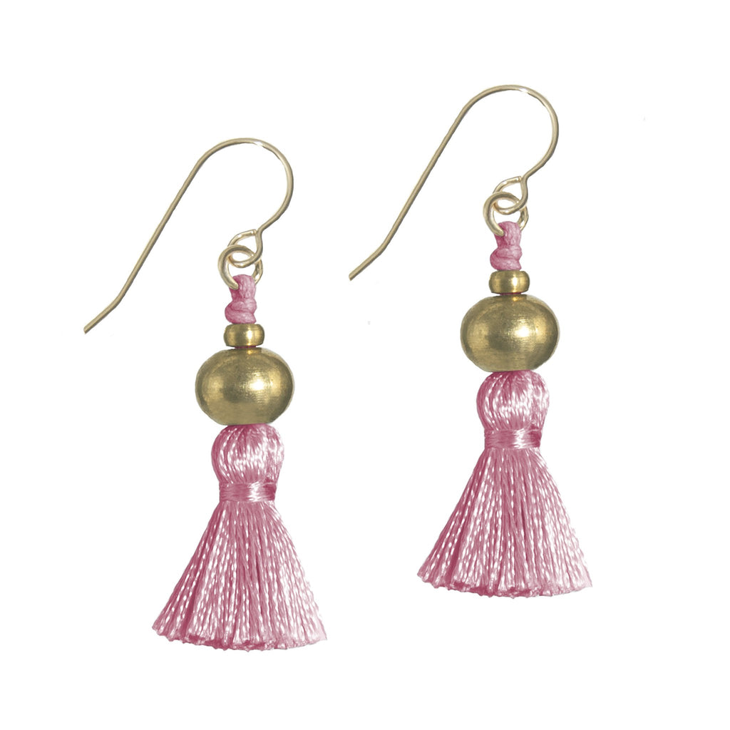 Deeta Mini Silk Tassel Earrings • Pink