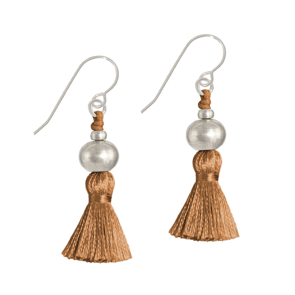 Deeta Mini Silk Tassel Earrings • Sienna