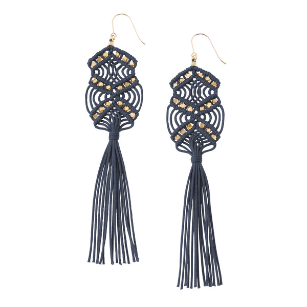 Gaia Tassel Earrings • Denim