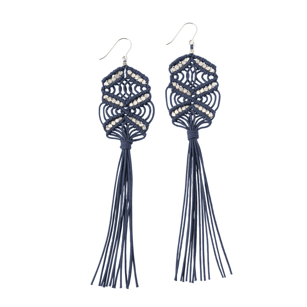Large Maeve Tassel Earrings • Denim