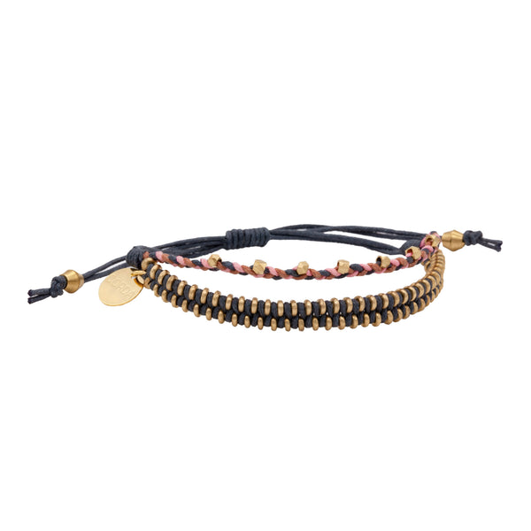 Juno Luxe Friendship Bracelet • Denim • Brass