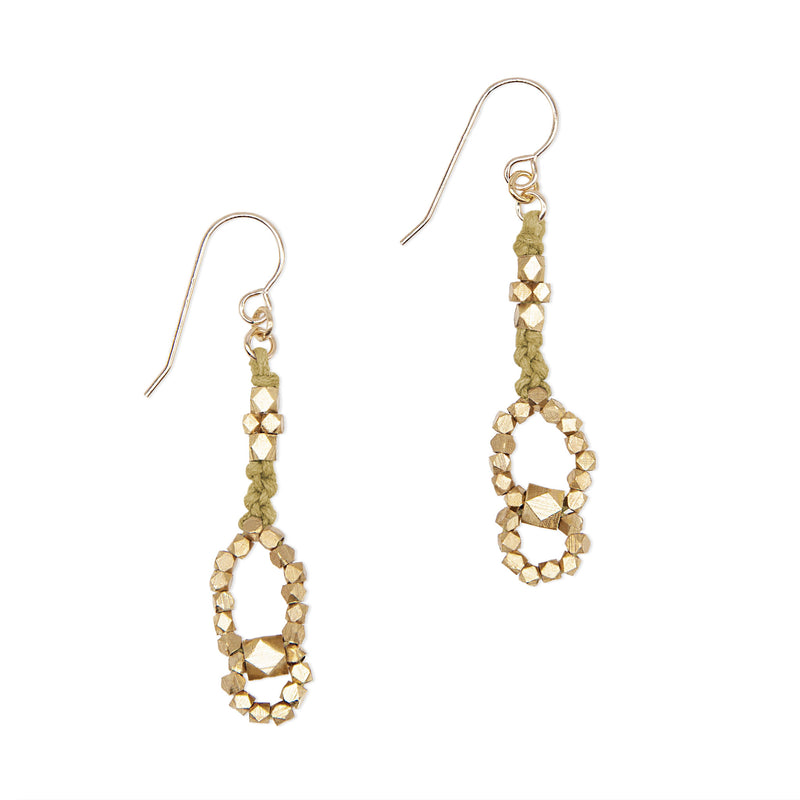 Eos Knotted Nugget Earrings • Brass